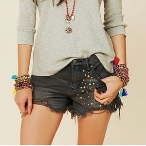 Free People Studded Jean Shorts